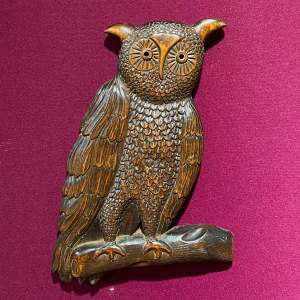 Black Forest Carved Wood Owl Wall Plaque.