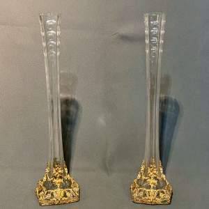 Pair of Napoleon III Gilt and Glass Vases