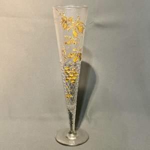 Decorative Gilt Leaf Tall Glass Vase