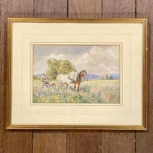 Early 20th Century Watercolour of a Farmer and Farmhorses