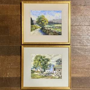 Pair of 20th Century A J Mayhew Countryside Watercolour Paintings
