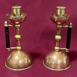 Pair of Arts and Crafts Candlesticks after Dr Christopher Dresser