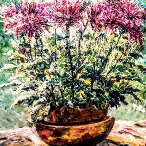 Pink Chrysanthemums: an Oil Painting by Mark Ramsden