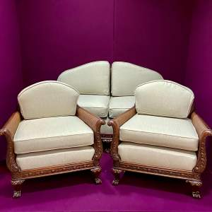Early 20th Century Chippendale Revival Bergere Lounge Suite