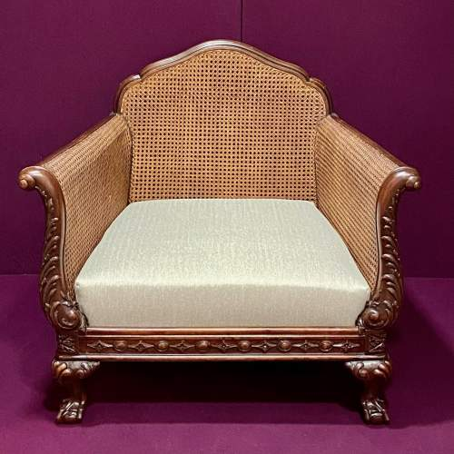Early 20th Century Chippendale Revival Bergere Lounge Suite image-6