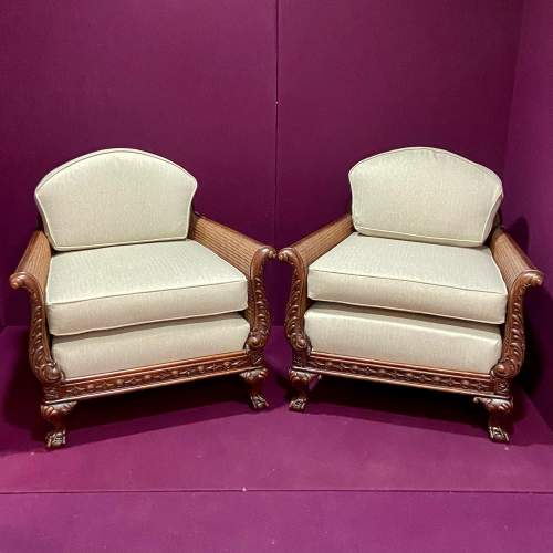 Early 20th Century Chippendale Revival Bergere Lounge Suite image-5