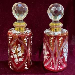 Pair of Victorian Cranberry Glass Decanters