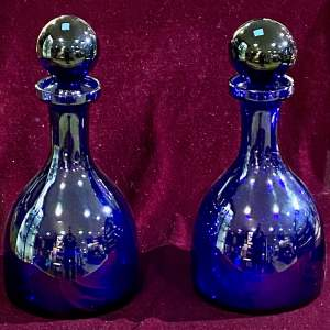 Pair of Bristol Blue Glass Decanters