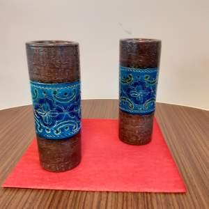 Pair of Aldo Londi Ceramic Rouleaux made for Bitossi Ceramics