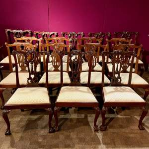 Harlequin Set of Sixteen Chippendale Style Mahogany Dining Chairs