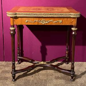 French Style Burr Walnut Card Table