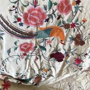 1920s Embroidered Canton Silk Piano Shawl