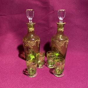 Pair of Baccarat Gilded Decanters and Four Matching Shot Glasses