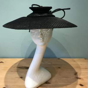 Ladies  Black Straw Hat by Sylvia Fletcher at James Lock and Co