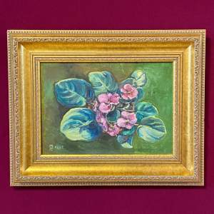 20th Century Mark Ramsden Oil on Canvas of African Violets