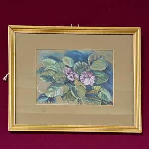 20th Century Mark Ramsden Pastel Drawing of African Violets