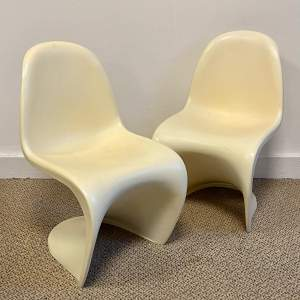 Pair of Verner Panton Junior Chairs by Vitra in White