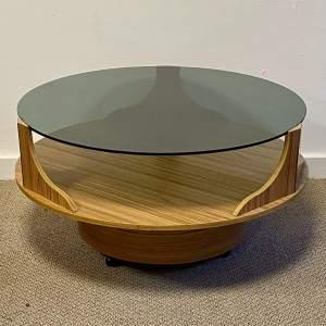 Retro Space Age Circular Glass Top Coffee Table