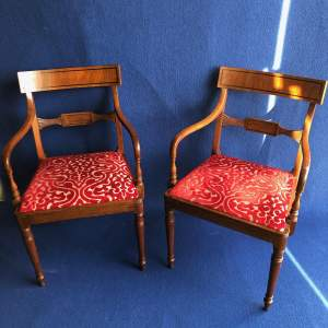Pair of Victorian Mahogany Elbow Chairs