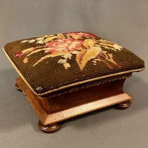 Tapestry Covered Small Footstool