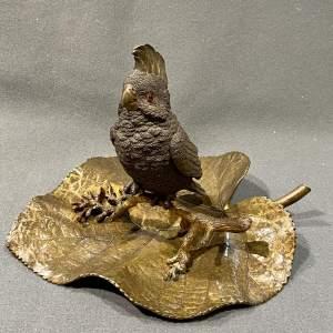 Russian Bronze and Gilt Bronze Parakeet Inkwell