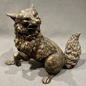 19th Century Bronze Fox Inkwell