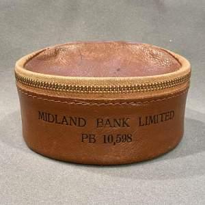 Leather Midland Bank Night Safe Money Deposit Bag