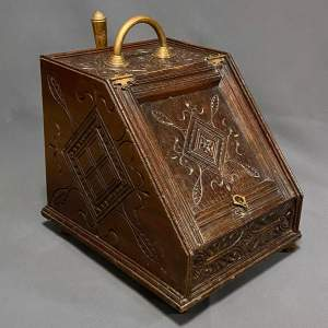 Early 20th Century Carved Oak Coal Box