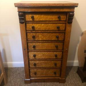 Birds Eye Maple and Rosewood Secretaire Wellington Chest