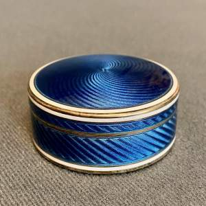 Early 20th Century Silver and Blue Enamel Pill Box