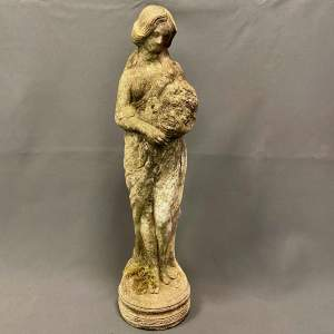 Decorative Garden Statuette of a Lady With Flowers
