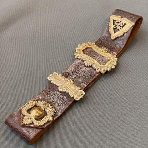 Leather Belt with Brass Royal Engineers and Fusilier Badges