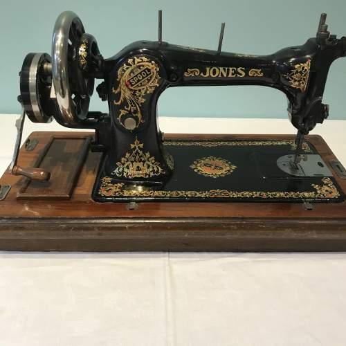 Decorative Jones Spool Cast Iron Sewing Machine circa 1900 image-3