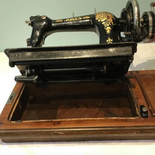 Decorative Jones Spool Cast Iron Sewing Machine circa 1900 image-4