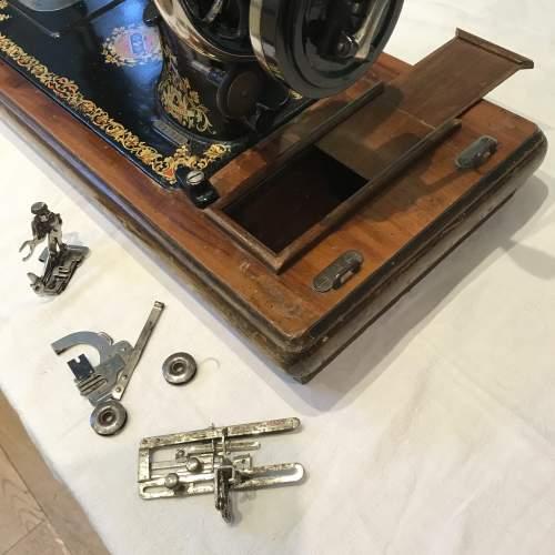Decorative Jones Spool Cast Iron Sewing Machine circa 1900 image-5