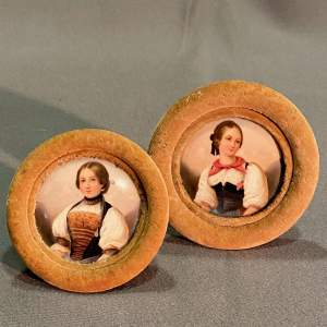 Pair of 19th Century Miniature Portraits on Porcelain