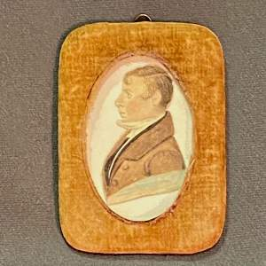 19th Century Small Watercolour Silhouette Painting