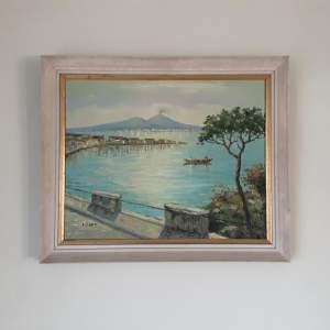 Original Oil Painting of Neopolitan Scene by E.Crutti