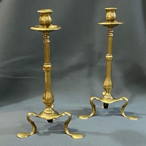 Pair of 19th Century Brass Candlesticks image-1