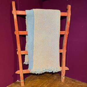 1950s Welsh Honeycomb Pink and Blue Blanket