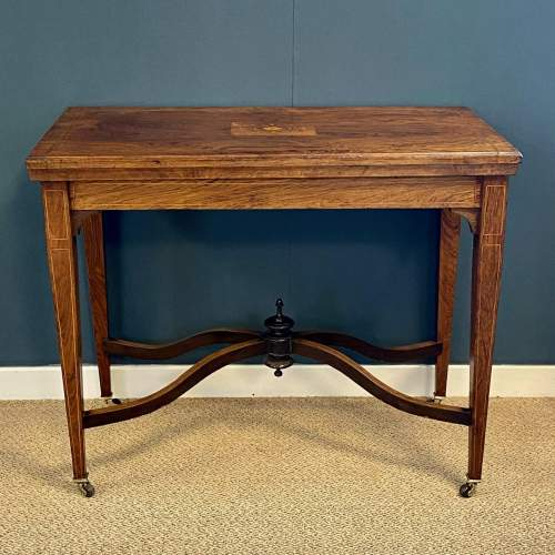 Inlaid Rosewood Card Table image-2