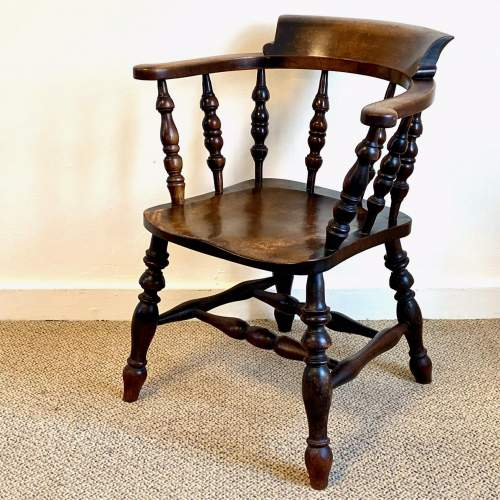 Victorian Ash and Elm Smokers Bow Armchair image-1