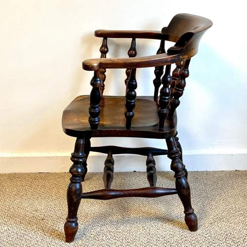 Victorian Ash and Elm Smokers Bow Armchair image-3