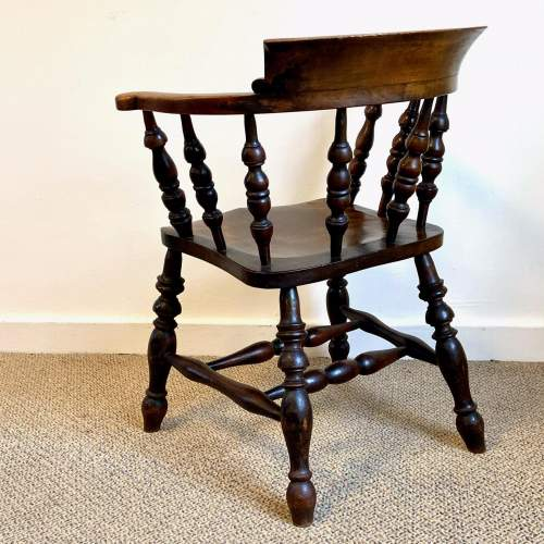 Victorian Ash and Elm Smokers Bow Armchair image-4