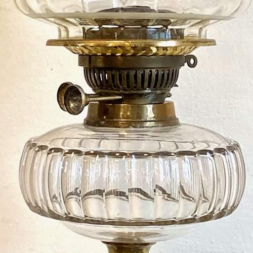 Victorian Brass Column Oil Lamp image-3