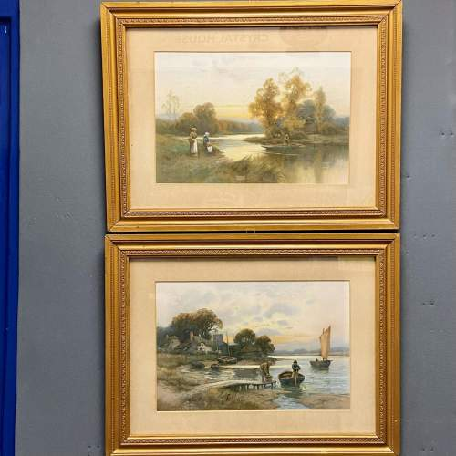 Pair of Victorian Watercolour River Scene Paintings image-1