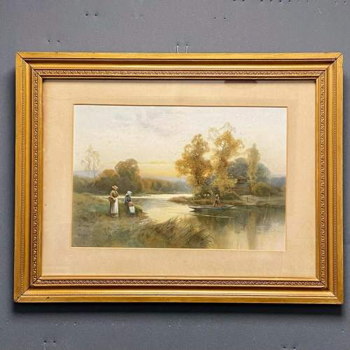 Pair of Victorian Watercolour River Scene Paintings image-2