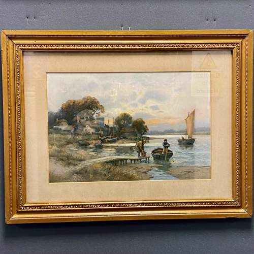 Pair of Victorian Watercolour River Scene Paintings image-3