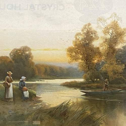 Pair of Victorian Watercolour River Scene Paintings image-4