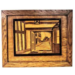 Marquetry Picture of a Village Scene